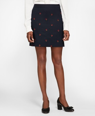 Brooks Brothers Rose-Embroidered Hopsack A-Line Skirt