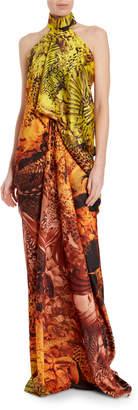 Halpern Snake Print Draped Bustier Halter Gown