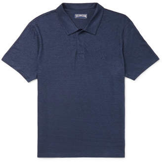 Vilebrequin Pyramid Slim-Fit Linen-Jersey Polo Shirt - Men - Navy