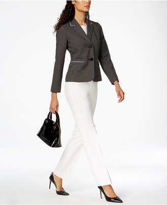 Le Suit Textured-Dot Two-Button Pantsuit