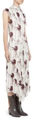 Chloé Viscose Jersey Horse Print Sleeveless Dress