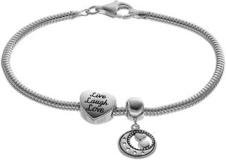 "Individuality Beads Sterling Silver Snake Chain Bracelet, Moon Charm & ""Live, Laugh, Love"" Heart Bead Set"