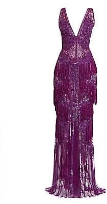ZUHAIR MURAD Women's Fringed Blossom V-Neck Gown