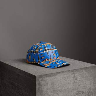 Burberry Graffiti Print Vintage Check Baseball Cap