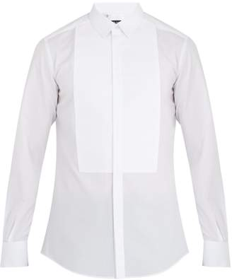 Dolce & Gabbana Single-cuff striped-bib cotton-poplin dinner shirt