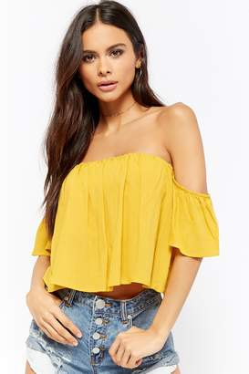 Forever 21 Off-the-Shoulder Self-Tie Crop Top