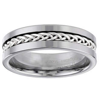 FINE JEWELRY Mens 7mm Stainless Steel and Tungsten Carbide Wedding Band