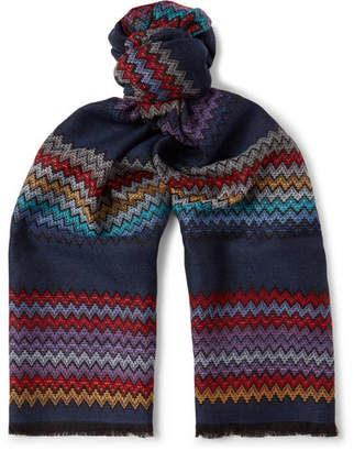 Missoni Fringed Zigzag Wool Scarf
