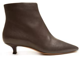 The Row Coco Point Toe Leather Ankle Boots - Womens - Dark Grey