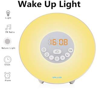 Lintimes Wake Up Light Alarm Clock with Sunrise/Sunset Simulator, Dimmable Brightness and Colorful Bedside Lamp, Natural Sounds, FM Radio, Touch Control Atmosphere Lamp