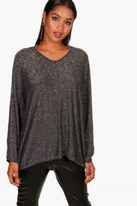 boohoo Anna Oversized Metallic V Neck Knitted Top