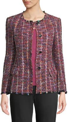 Etro Crewneck Tweed-Striped Jacket