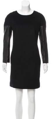 DKNY Leather-Paneled Wool Dress