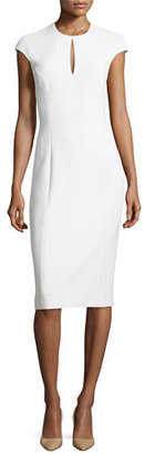 Ralph Lauren Collection Janelle Crepe Keyhole Cap-Sleeve Sheath Dress, Cream $1,490 thestylecure.com
