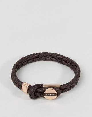 Emporio Armani Plaited Bracelet In Brown & Bronze
