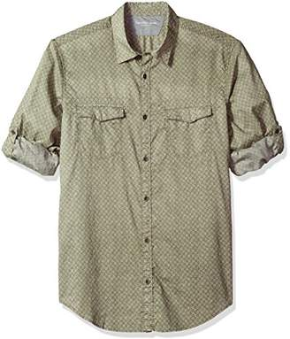 Calvin Klein Jeans Men's Long Sleeve Floral Print On Voile Roll-tab Button Down Shirt