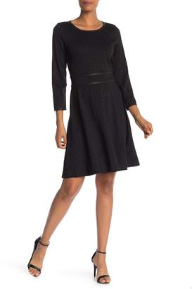 Max Studio Pindot 3/4 Sleeve Dress