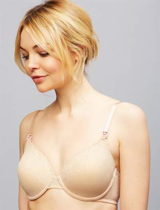A Pea in the Pod Natori Private Luxuries Full Coverage Lace Nursing Bra- Nude