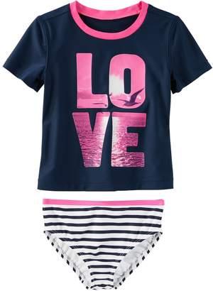 "Osh Kosh Oshkosh Bgosh Girls 4-8 LOVE"" Photoreal Seagull Rashguard & Striped Bottoms Swimsuit Set"