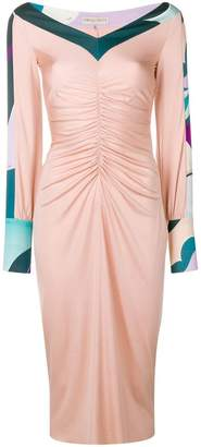 Emilio Pucci ruched front v-neck dress