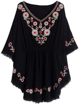 4ac7da867f1be Xinqiao Women s Batwing Loose Tunic Peasant Tops Mexican Embroidery Blouse