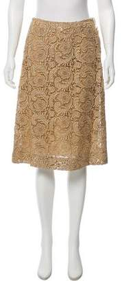 Prada Metallic Embroidered Knee-Length Skirt