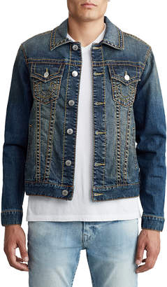 True Religion MENS MULTI BIG T TRUCKER DENIM JACKET