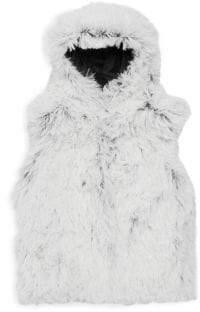 Little Girl's Faux Fur Shaggy Hooded Vest