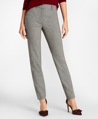 Brooks Brothers Petite Mini-Houndstooth Stretch Wool Slim-Fit Ankle Pants