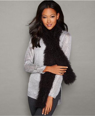 The Fur Vault Knitted Tibetan Lamb Fur Scarf $350 thestylecure.com