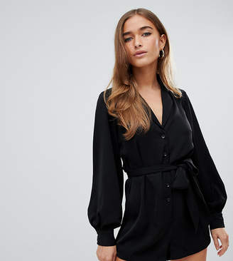 Fashion Union Petite petite relaxed romper with collar detail