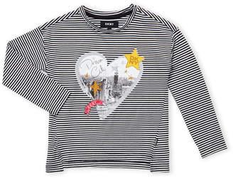 DKNY Girls 4-6x) Striped Heart Step Hem Top