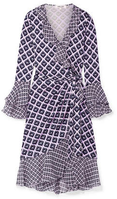 Diane von Furstenberg Ruffled Printed Silk-crepe And Chiffon Wrap Dress - Pastel pink