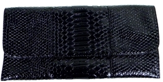 Urban Expressions - Women's Black Snakeskin Envelope Clutch