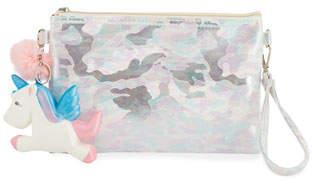 Bari Lynn Girls' Camo Pouch Bag w/ Fur Pompom & Squeeze Unicorn