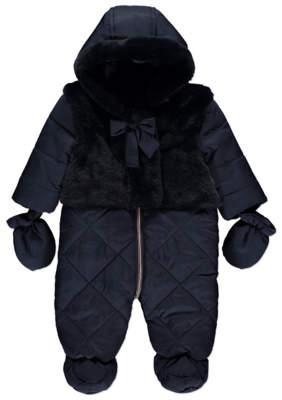 George Navy Faux Fur Trim Padded Snowsuit