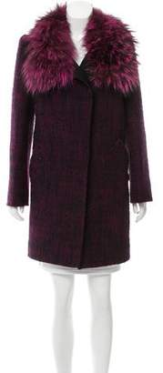 Oscar de la Renta Tweed Fur-Trimmed Coat