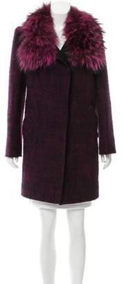 Oscar de la Renta Tweed Fur-Trimmed Coat
