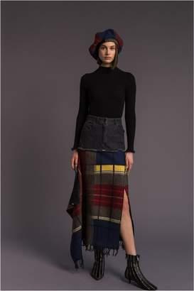 Sonia Rykiel Denim And Tartan Long Skirt