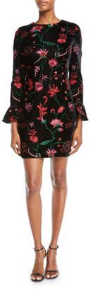 Aidan Mattox Floral Velvet Bell-Sleeve Dress