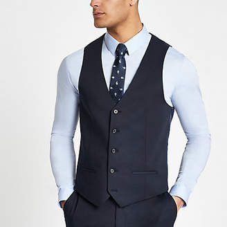 River Island Navy single-breasted vest