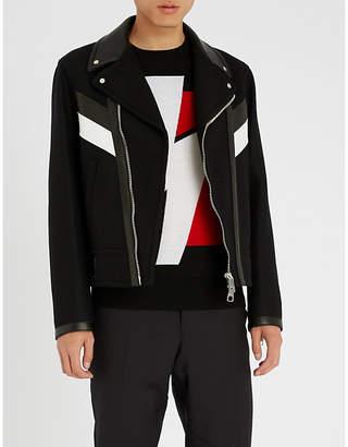 Neil Barrett Leather-trim wool-blend biker jacket