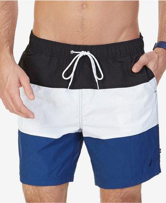 Nautica Men's Quick-Dry Tri-Block Swim Trunks $39.98 thestylecure.com