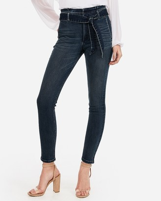 Express Super High Waisted Denim Perfect Paperbag Waist Ankle Leggings