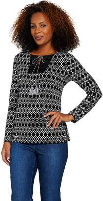 Susan Graver Printed Liquid Knit Long Sleeve Top with Tassels