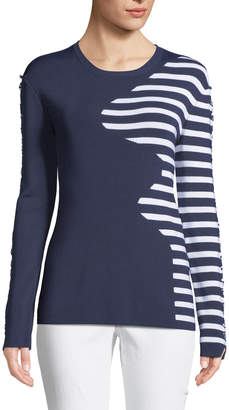 Neiman Marcus Tabula Rasa Dagani Striped Long-Sleeve Lace-Up Sweater
