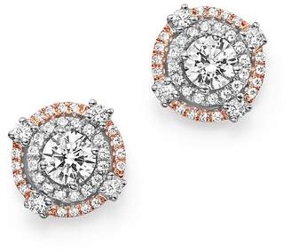 Bloomingdale's Diamond Halo Studs in 14K White and Rose Gold, 1.0 ct. t.w. - 100% Exclusive