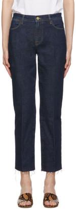 Frame Blue Le High Straight Raw Edge Jeans