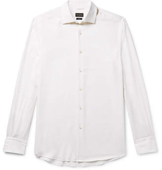 Ermenegildo Zegna Cotton and Cashmere-Blend Twill Shirt - White