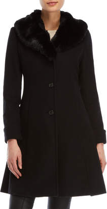 Lauren Ralph Lauren Faux Fur Collar Blended Wool Coat